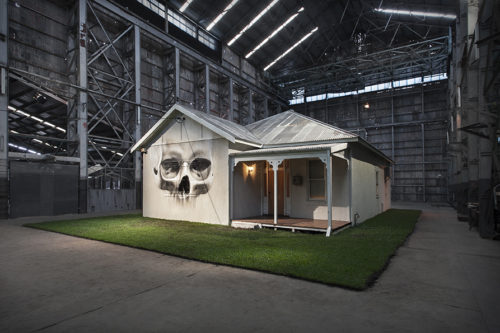 HOME - Installation Exhibition Turbine Hall, Cockatoo Island, NSW. Photo / Artwork credit and Copyright holder: Ian Strange