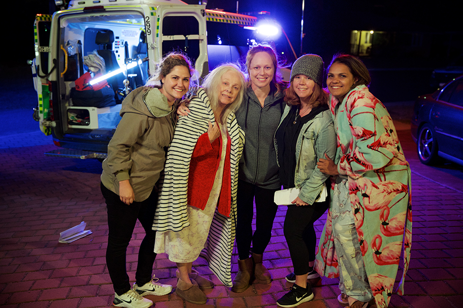 On the set of MOLLY AND CARA. L-R: Emilia Jolakoska (producer), Lynette Curran (Molly), Hayley McElhinney (Dee), Miley Tunnecliffe (director) and Rarriwuy Hick (Cara). Photo by Danni Booth.