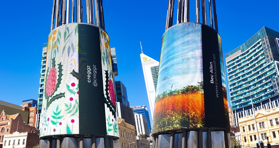 Yagan Square Digital Tower credit example. Artwork by creggz and Bec Allen.