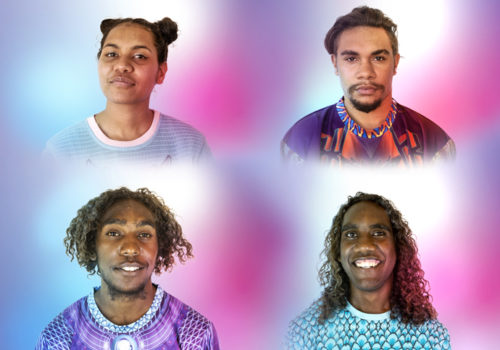 Headshots of Alison, Maverick, Nelson and Eaton against a blue, pink and purple background