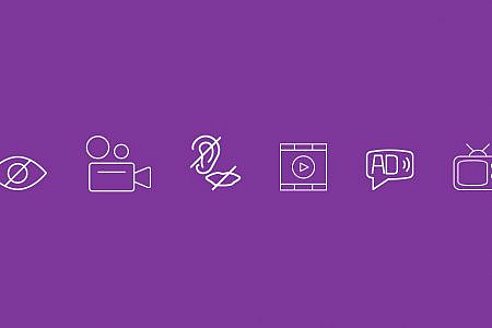 Accessibility symbols on a purple background
