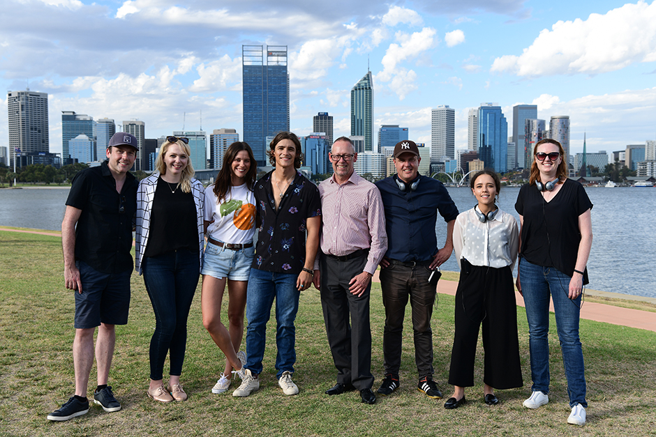 Group of people on the South Perth foreshore.