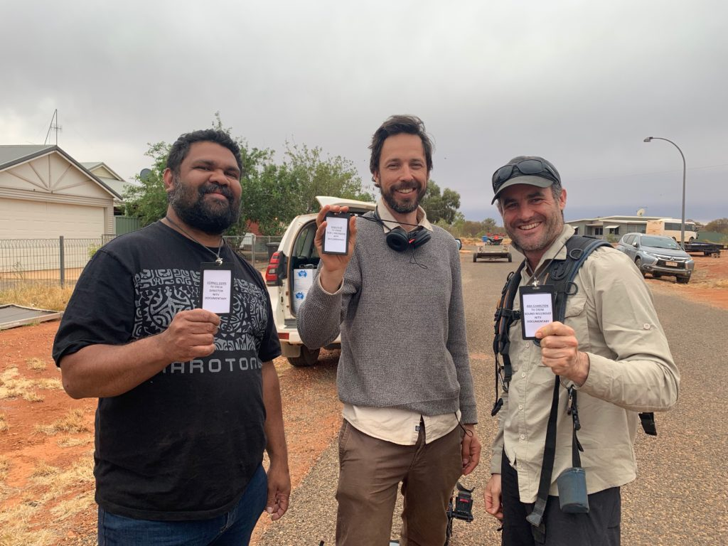 Cornel Ozies, Sam Bodhi Field and Ash Charlton on the set of Our Law
