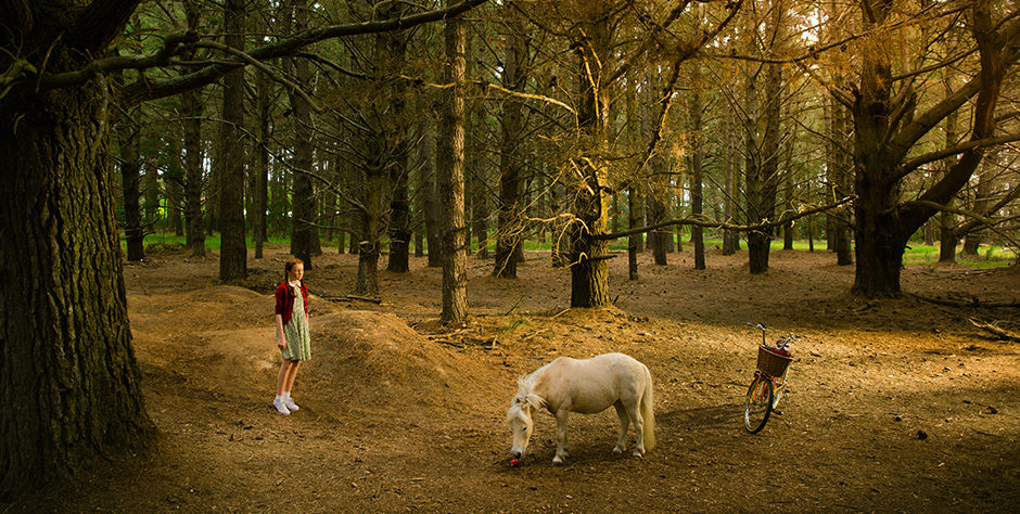 Candice watches the Miniature horse as it eats an apple in a forest