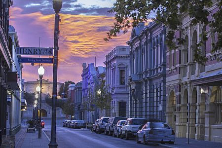 Street of heritage architecture buildings at sunset