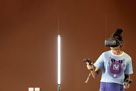 Young person wearing a VR headset