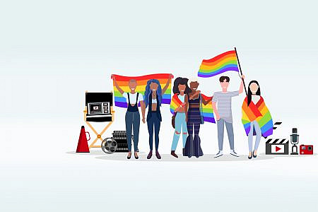 Group of people with film equipment holding pride flags