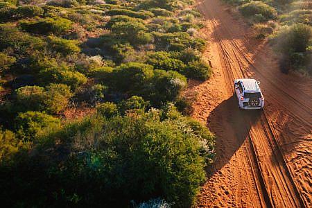 Car driving through Australian outback