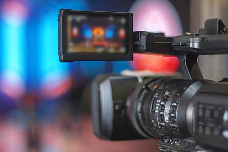Close up of film camera in a studio