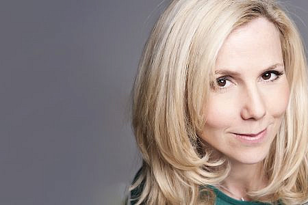 Sally Phillips head shot. Blonde actress with brown eyes and fair skin.