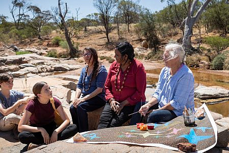 Yamaji Arts artist Wendy Jackamarra and her sister Glenda Jackamarra ssitting in the bush with a painting talking to Lucia Richardson, Max Winton & Charmaine Green