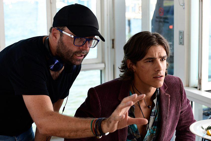 Luke Eve directing Brenton Thwaites behind the scenes of I Met A Girl