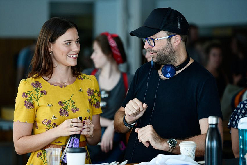 Lily Sullivan (as Lucy) with Director Luke Eve behind the scenes of I Met A Girl