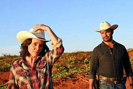Jada Alberts as FRAN & Aaron Pedersen as JAY in the outback