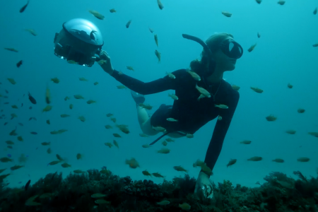 A woman in a wetsuit, mask and snorkel swims through a school of fish with a dome shaped camera in her right hand.