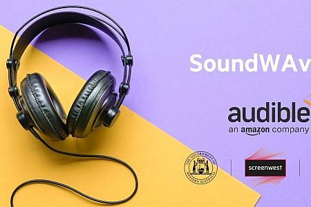 Headphones on a purple and yellow background