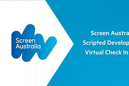 Screen Australia Logo and text on a blue and white background. Text reads: Screen Australia Scripted Development Virtual Check In - WA